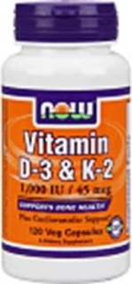 NOW Foods Vitamin D-3 & K-2, 120 Vegi Capsules