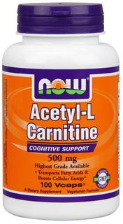 NOW Foods Acetyl-L Carnitine 500 mg., 100 Vegi Capsules