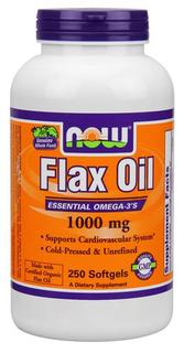 NOW Foods Flax Oil 1000 mg. per gel, 250 Softgels