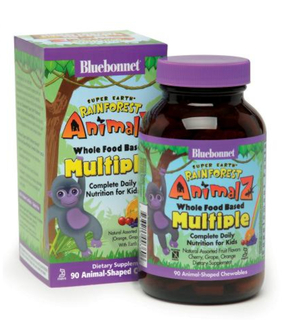 Bluebonnet Nutrition Super Earth® Rainforest Animalz® Whole Food Based Multiple Animalz-Shaped Chewables, 90 Chewables