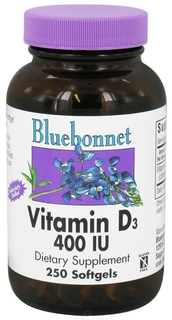Bluebonnet Nutrition Vitamin D3 400 IU, 250 Softgels