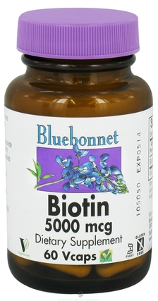 Bluebonnet Nutrition Biotin 5000 mcg Vcaps by Bluebonnet Nutrition