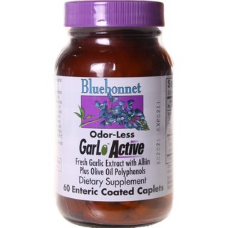 Bluebonnet Nutrition Standarized • Odor-Less GarLo™Active Enteric Coated Caplets, 60 Caplets