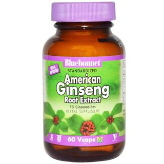 Bluebonnet Nutrition Standardized American Ginseng Root Extract Vcaps, 60 Vegi Capsules