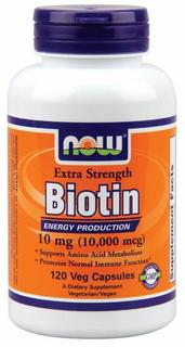 NOW Foods Biotin 10 mg (10,000 mcg), 120 Vegi Capsules