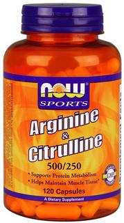 NOW Foods Arginine & Citrulline 500/250mg, 120 Capsules