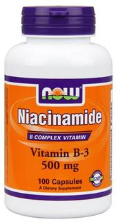 NOW Foods Niacinamide (B-3) 500 mg, 100 Capsules