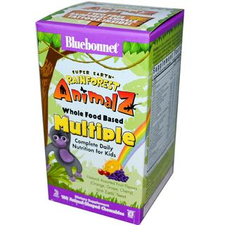 Bluebonnet Nutrition Super Earth® Rainforest Animalz® Whole Food Based Multiple Animalz-Shaped Chewables, 180 Chewables