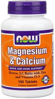 NOW Foods Magnesium & Calcium, 100 Tablets