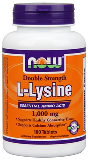NOW Foods L-Lysine 1,000 mg Double Strength Tablets, 100 Tablets