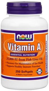 NOW Foods Vitamin A (Fish Liver Oil), 250 Softgels