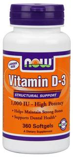 NOW Foods Vitamin D-3 1,000 IU Softgels, 360 Softgels