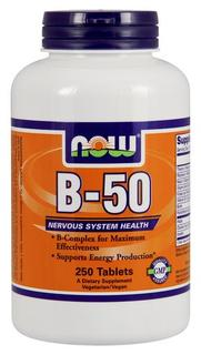 NOW Foods Vitamin B-50 Tablets, 250 Tablets