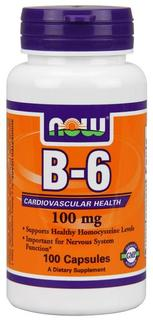 NOW Foods Vitamin B-6 100mg, 100 Capsules