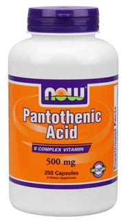 NOW Foods Pantothenic Acid 500 mg Capsules, 250 Capsules