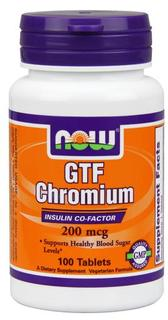 NOW Foods GTF Chromium 200 mcg Yeast Free, 100 Tablets