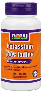 NOW Foods Potassium plus Iodine, 180 Tablets