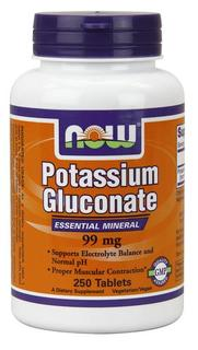 NOW Foods Potassium Gluconate 99 mg Vegetarian, 250 Tablets