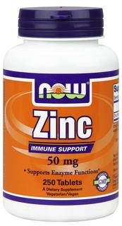 NOW Foods Zinc 50 mg Tabs, 250 Tablets