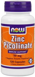 NOW Foods Zinc Picolinate 50 mg Caps, 120 Capsules