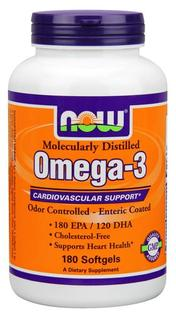 NOW Foods Molecularly Distilled Omega-3, 180 Softgels
