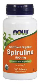 NOW Foods Spirulina 500 mg (Certified Organic) Tablets, 100 Tablets