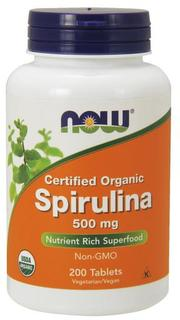 NOW Foods Spirulina 500 mg (Certified Organic) Tablets, 200 Tablets