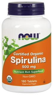 NOW Foods Spirulina 500 mg Tablets, 180 Tablets