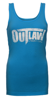 Distressed Logo Women's Tank - blue
