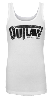 Distressed Logo Women's Tank - white
