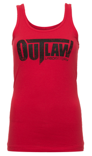 Distressed Logo Women's Tank - red
