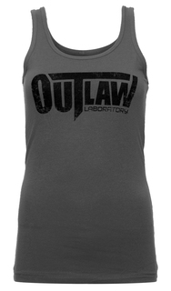 Distressed Logo Women's Tank - dark grey