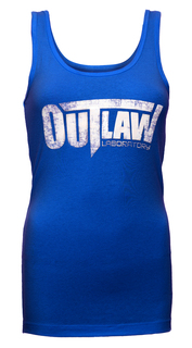 Distressed Logo Women's Tank - royal blue