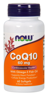 NOW Foods CoQ10 60 mg. with Omega-3, 60 Softgels