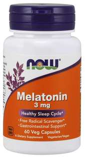 NOW Foods Melatonin 3 mg. per capsule, 60 Capsules